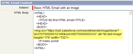 Adding Image Tag to HTML Email