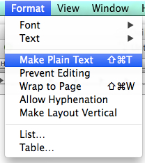 Convert Format to Plain Text TXT in TextEdit