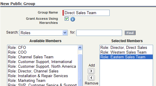 Create Public Group - Direct Sales Team
