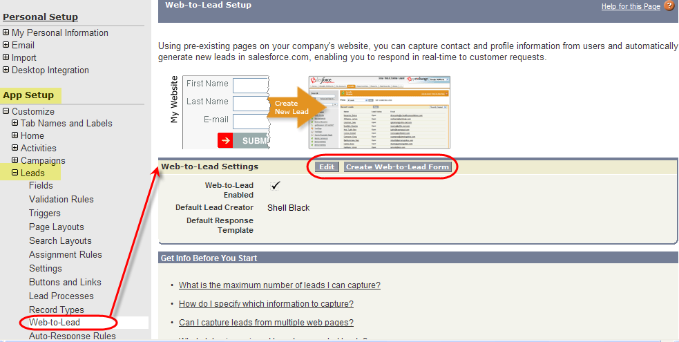 How to configure Salesforce com Web-to-Lead form submission