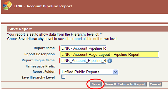 Save Report with LINK prefix