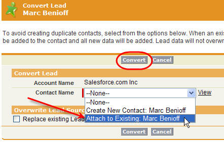 Convert lead and merge with existing Contact