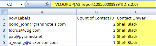 vlookup to pull back Contact Owner