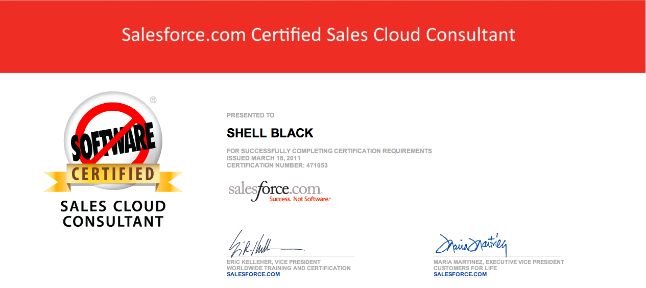 Salesforce Certified Sales Cloud Consultant Shellblack