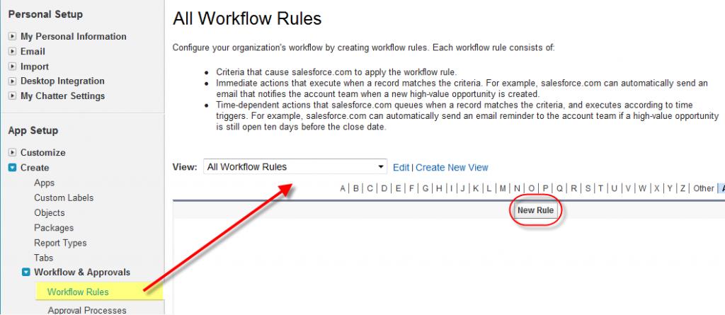 Start a Workflow Rule