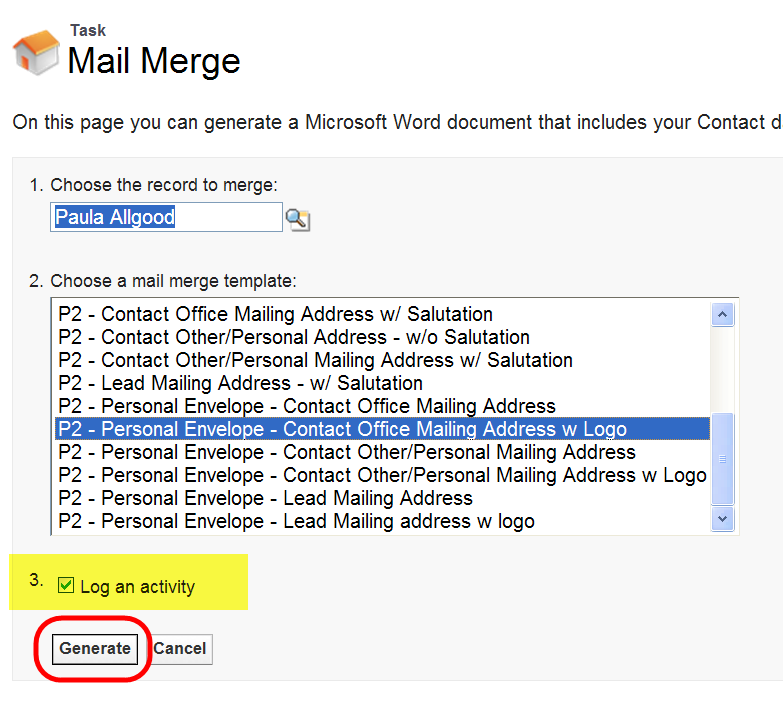 Create Mail Merge