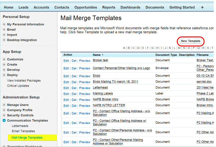 Configure Salesforcecom Mail Merge Button Ms Word Template