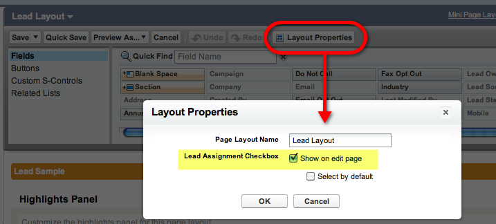 Lead Layout Properties Assignment Box