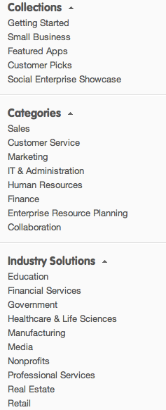 New AppExchange Categories Industry Navigation