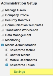 Enable Salesforce Touch Menu