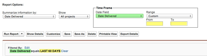 Example Literal Date Range Report Filter