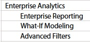 Enterprise Analytics Features PE EE