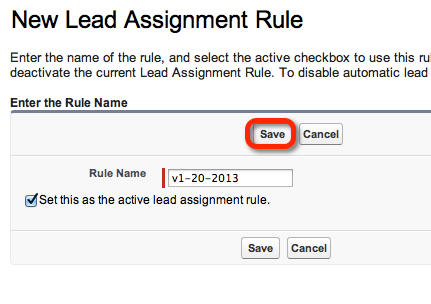 Set as the active assignment rule