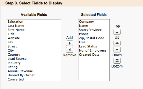 Step 3 - Select Fields to Display