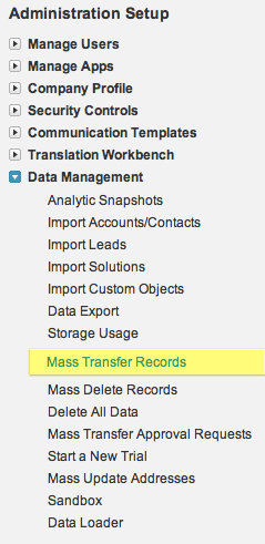Data Management Mass Transfer Records