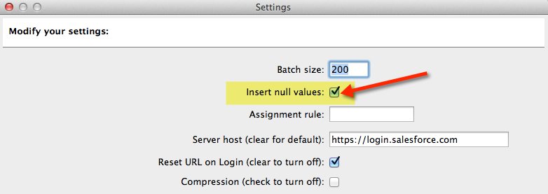 Insert Null or Blank Values with the Data Loader