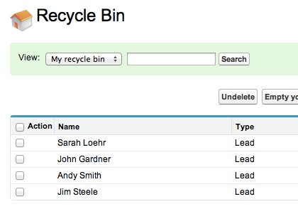 Recycle Bin Records