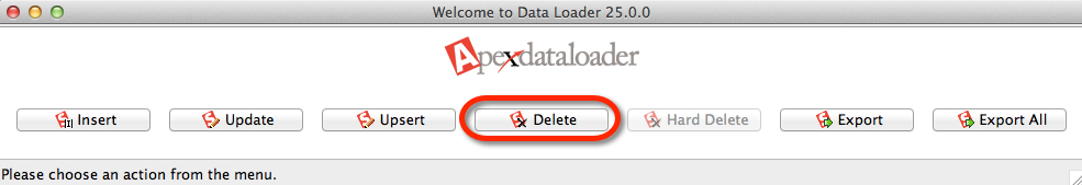 Select Delete from the Data Loader