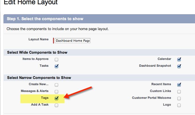 Add Tags to Home Page Sidebar