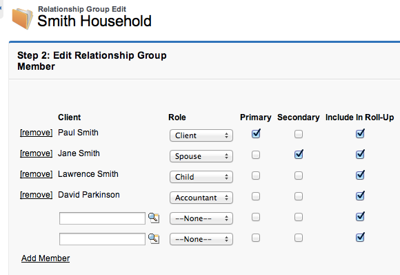 Example Edit Relationship Group Members Roles Wealth Management