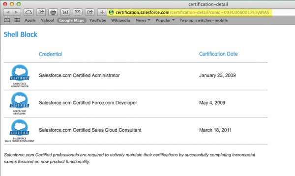 URL to your Salesforce Certification
