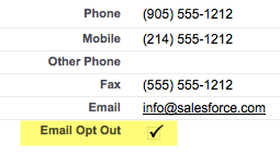 Email Opt Out Checkbox