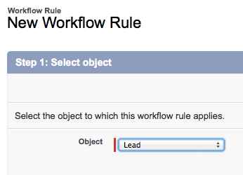 Workflow Step 1_Select Lead Object