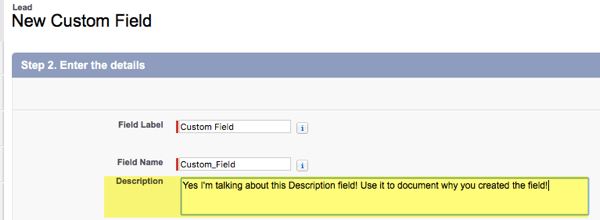 Custom Description Field