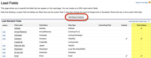 Enable Field History Tracking