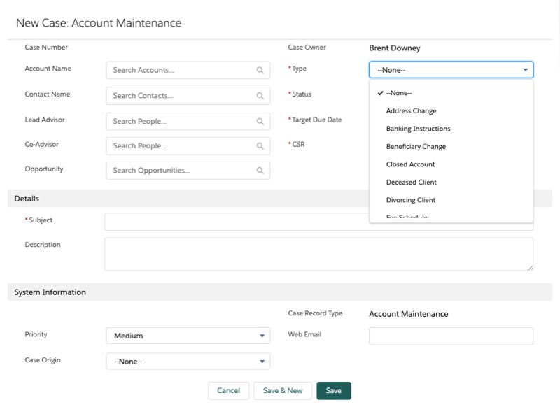 New Account Maintenance